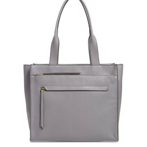 NWT Nordstrom Finn gray pebbled leather tote bag